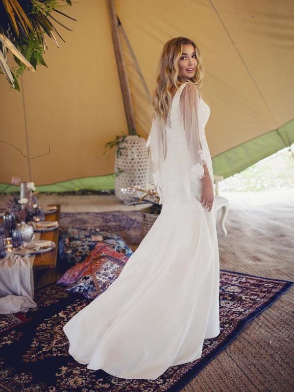 ELYSE Madi Lane Simple elegant sheer lace cape jersey wedding dress Luv Bridal Byron Bay Gold Coast Australia