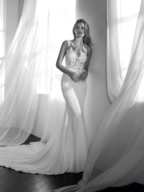 ZALEN illusion neckline sheer lace top crepe skirt wedding dress st patrick luv bridal Pronovias