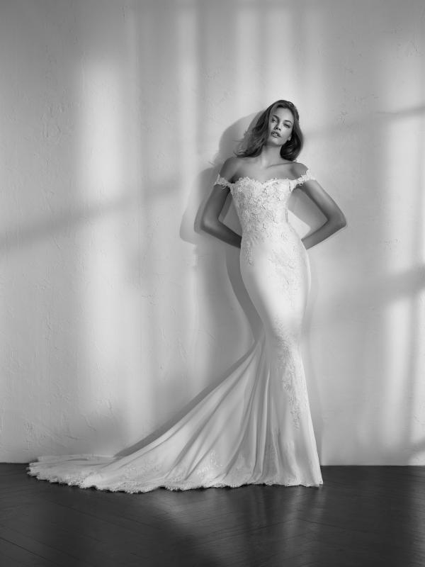 ZALI off shoulder neckline fitted lace mermaid wedding dress St Patrick Luv Bridal Pronovias