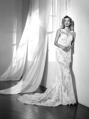 ZALTANA illusion neckline sheer lace wedding dress luv bridal st Patrick Pronovias
