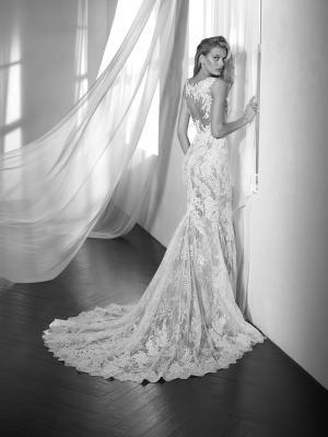ZALTANA illusion neckline sheer lace wedding dress luv bridal st Patrick Pronovias