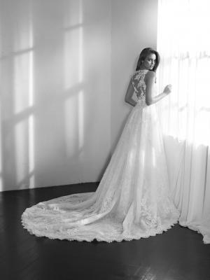 ZEMORA illusion sheer lace neckline wedding dress fitted overskirt with detailed back wedding dress st patrick luv bridal Pronovias