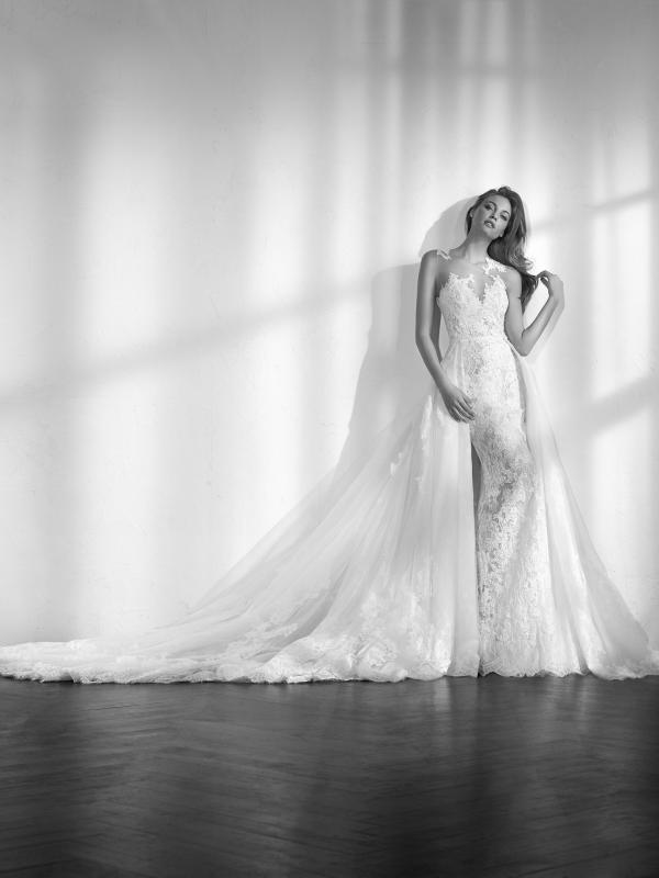 ZEN sheer fitted lace mermaid wedding dress detachable skirt st patrick luv bridal Pronovias