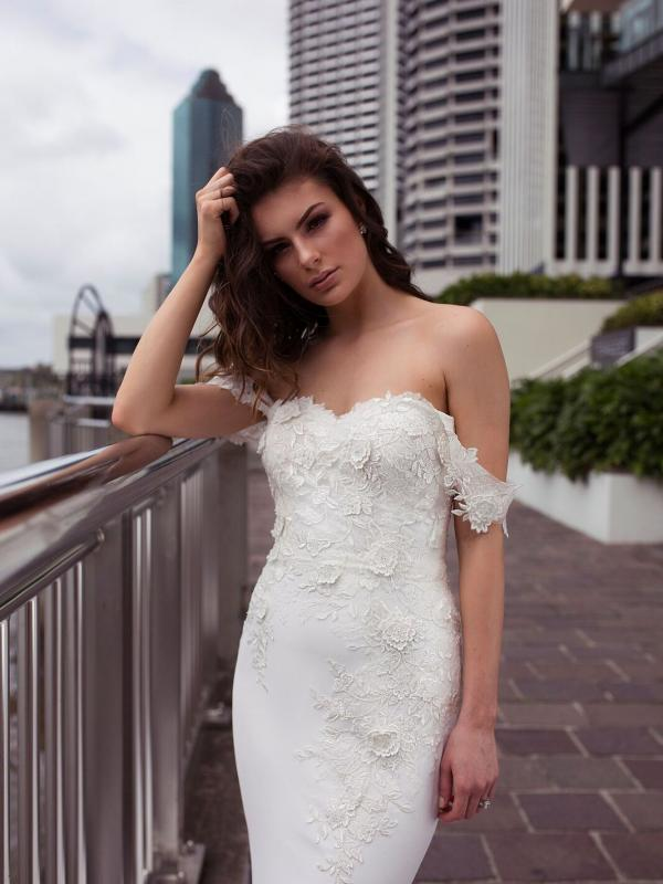 DRIA ST PATRICK STUDIO COLLECTION SPAIN LUV BRIDAL BRISBANE AUSTRALIA FITTED OFF SHOULDER LACE CREPE WEDDING DRESS 2