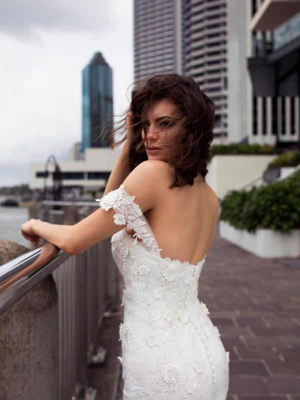 DRIA ST PATRICK STUDIO COLLECTION SPAIN LUV BRIDAL BRISBANE AUSTRALIA FITTED OFF SHOULDER LACE CREPE WEDDING DRESS 3