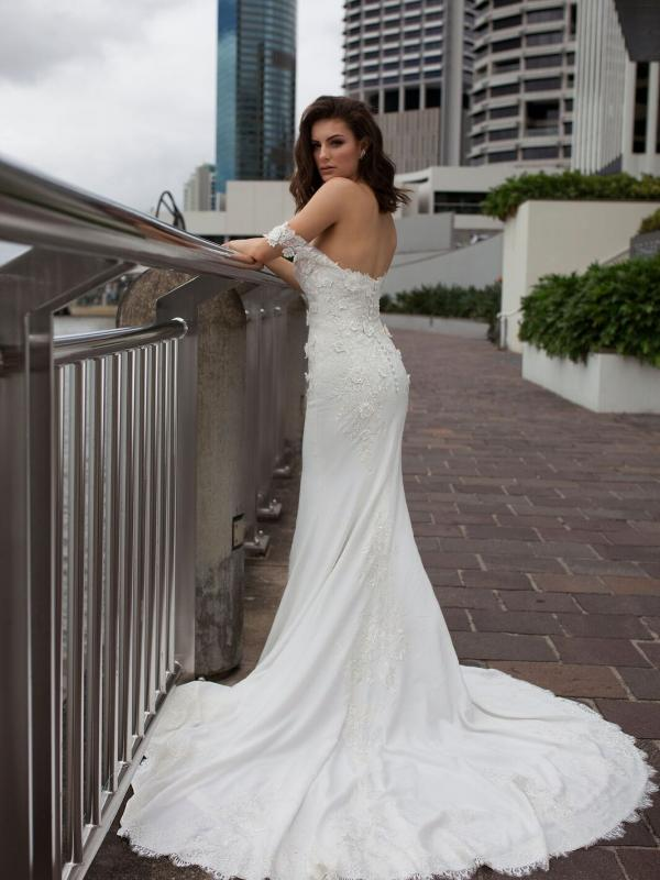 DRIA ST PATRICK STUDIO COLLECTION SPAIN LUV BRIDAL BRISBANE AUSTRALIA FITTED OFF SHOULDER LACE CREPE WEDDING DRESS 4