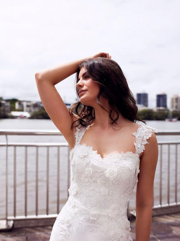 DRIA ST PATRICK STUDIO COLLECTION SPAIN LUV BRIDAL BRISBANE AUSTRALIA FITTED OFF SHOULDER LACE CREPE WEDDING DRESS 5