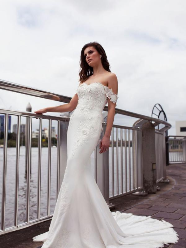 DRIA ST PATRICK STUDIO COLLECTION SPAIN LUV BRIDAL BRISBANE AUSTRALIA FITTED OFF SHOULDER LACE CREPE WEDDING DRESS