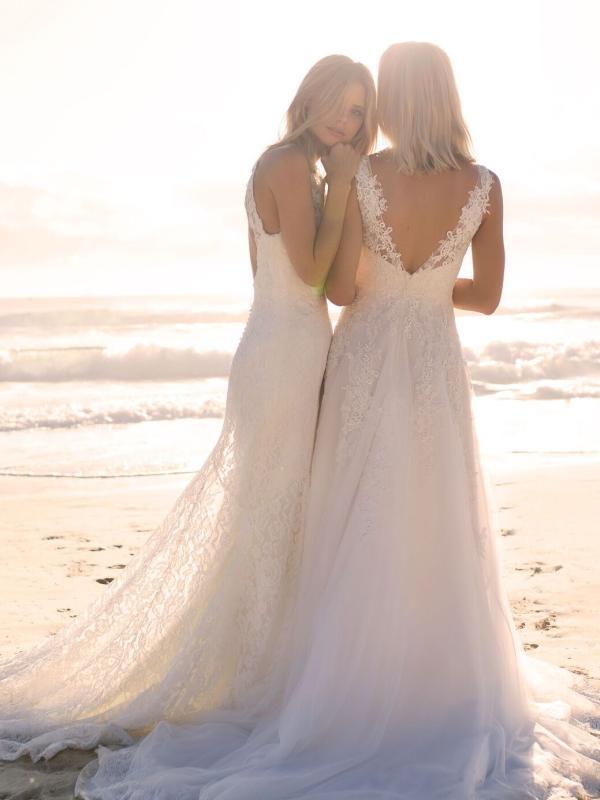 ELIZA MADI LANE LUV BRIDAL BYRON BAY AUSTRALIA FULL LACE TULLE ALINE WEDDING DRESS BACK