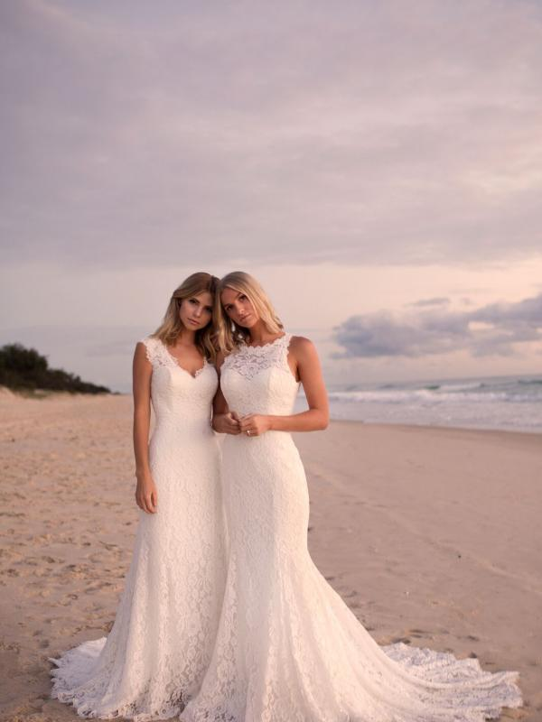 EVERLY EVITA MADI LANE LUV BRIDAL BYRON BAY AUSTRALIA FULL LACE FITTED WEDDING DRESS 1