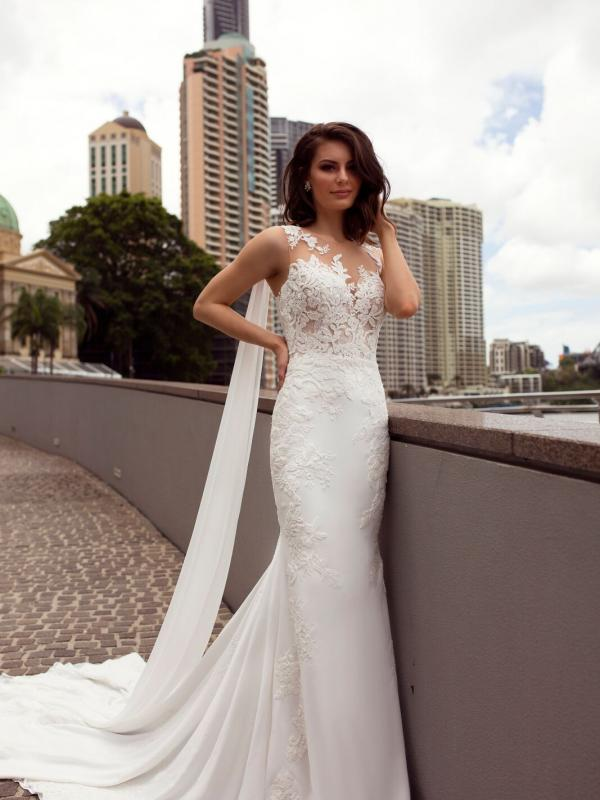 ZALEN ST PATRICK STUDIO COLLECTION SPAIN LUV BRIDAL BRISBANE AUSTRALIA FITTED ILLUSION BACK CREPE CHIFFON SHOULDERS 0