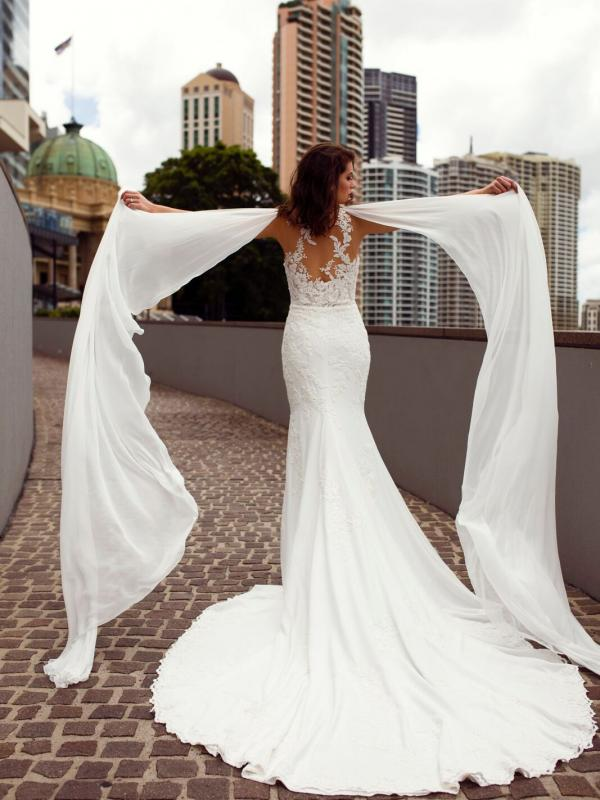 ZALEN ST PATRICK STUDIO COLLECTION SPAIN LUV BRIDAL BRISBANE AUSTRALIA FITTED ILLUSION BACK CREPE CHIFFON SHOULDERS 1