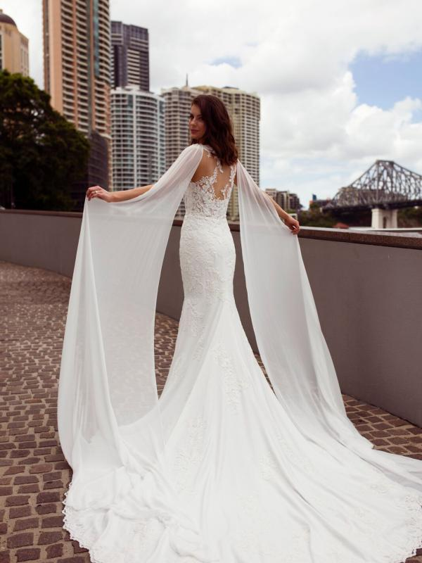 ZALEN ST PATRICK STUDIO COLLECTION SPAIN LUV BRIDAL BRISBANE AUSTRALIA FITTED ILLUSION BACK CREPE CHIFFON SHOULDERS 2