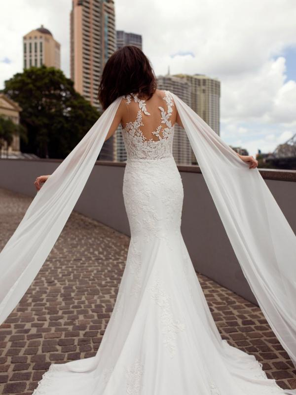 ZALEN ST PATRICK STUDIO COLLECTION SPAIN LUV BRIDAL BRISBANE AUSTRALIA FITTED ILLUSION BACK CREPE CHIFFON SHOULDERS 3