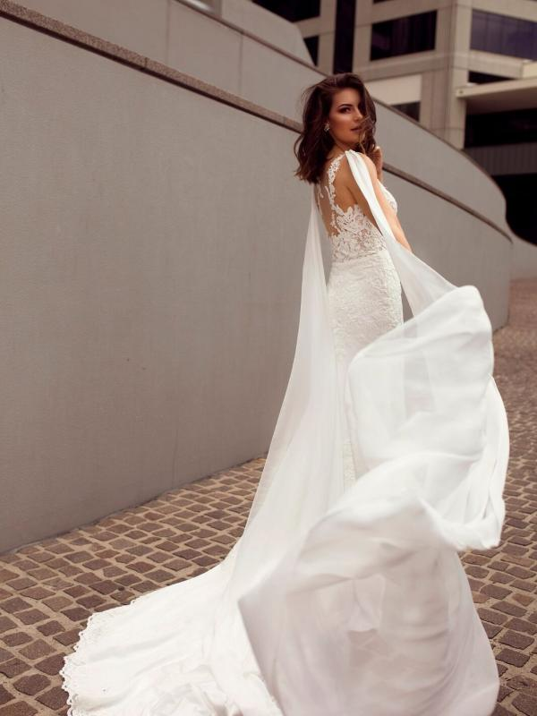 ZALEN ST PATRICK STUDIO COLLECTION SPAIN LUV BRIDAL BRISBANE AUSTRALIA FITTED ILLUSION BACK CREPE CHIFFON SHOULDERS 6
