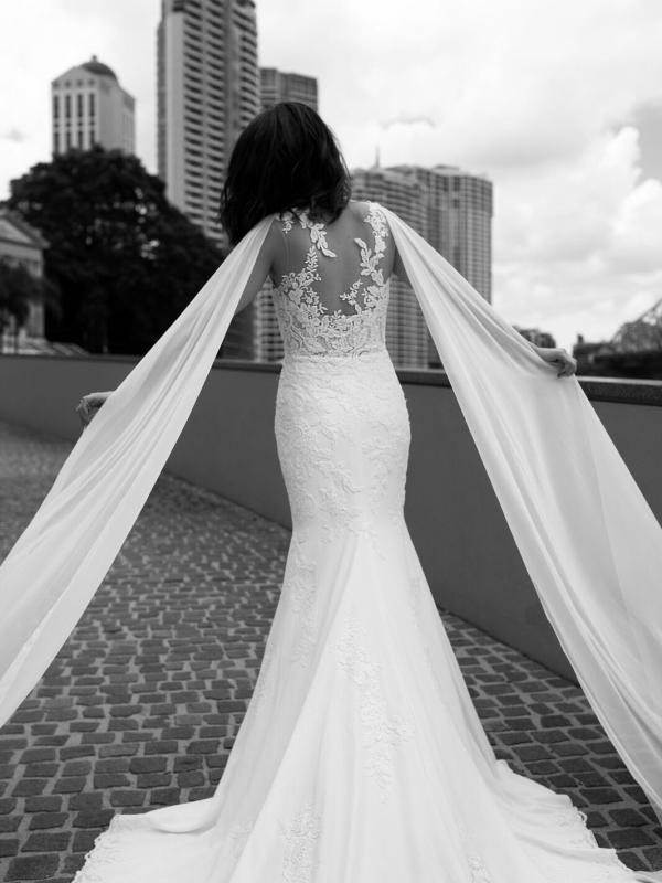 ZALEN ST PATRICK STUDIO COLLECTION SPAIN LUV BRIDAL BRISBANE AUSTRALIA FITTED ILLUSION BACK CREPE CHIFFON SHOULDERS BW