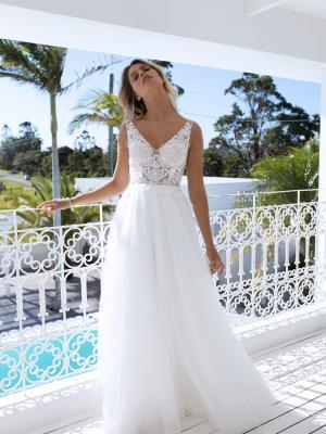 ELISHA v neck low back sheer lace tulle wedding dress luv madi lane luv bridal australia