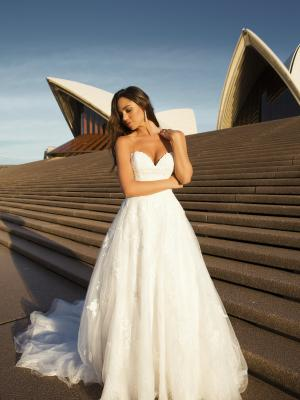 M1821Z Penn strapless sweetheart cathedral train lace tulle wedding dress mia solano luv bridal australia
