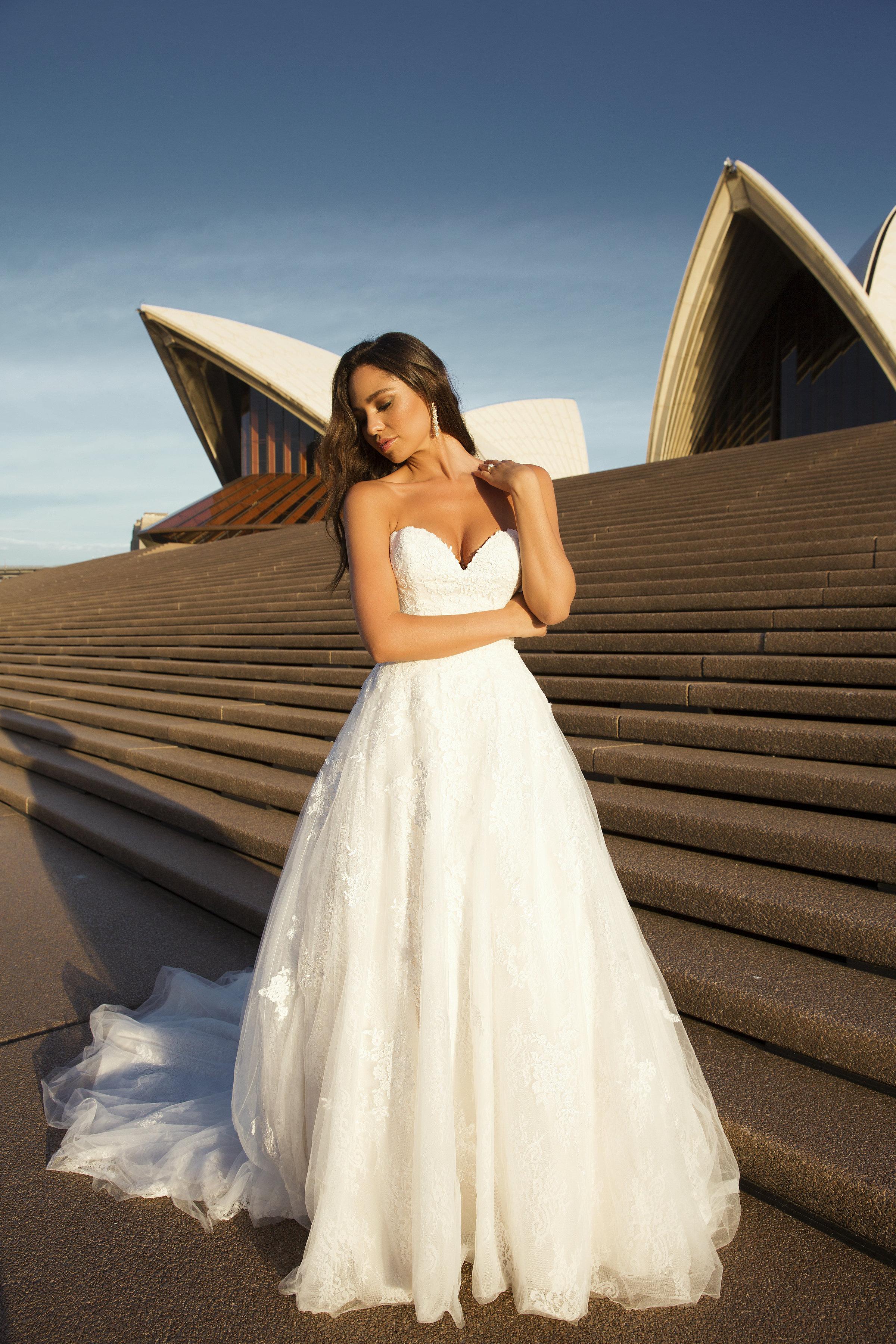 43859d25e1b M1821Z Penn strapless sweetheart cathedral train lace tulle wedding dress  mia solano luv bridal australia