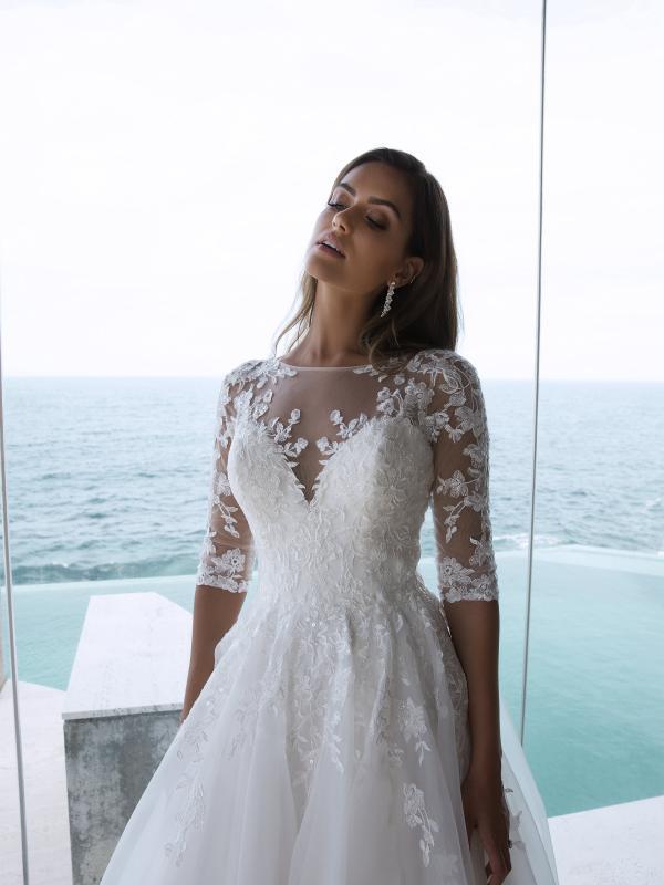 M1861Z Pearle long sleeve illusion low back full wedding dress mia solano luv bridal australia