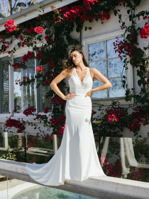ML3818 ERYN MADI LANE LACE CREPE FITTED HALTER NECK CROSS BACK IVORY WEDDING GOWN