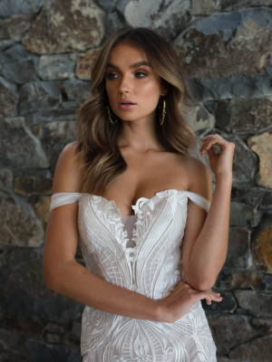 ML3918 ROZA DETACHABLE OFF SHOULDER STRAPLESS LACE LONG TRAIN WEDDING DRESS MADI LANE BRIDAL GOWN