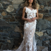 ML5118 ROMY FLORAL LACE FLOWERS ILLUSION V NECK OPEN BUTTON BACK WEDDING DRESS MADI LANE BRIDAL GOWN