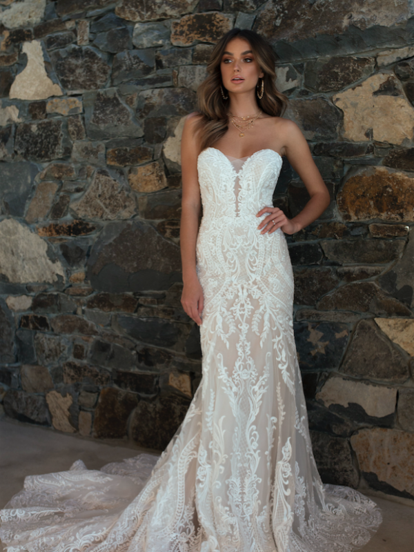 ML5618 RAINE DEEP ILLUSION V NECK PLUNGE STRAPLESS LACE WEDDING DRESS MADI LANE BRIDAL GOWN