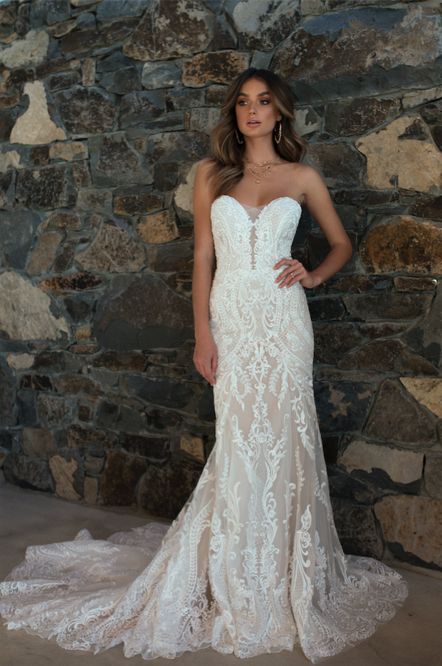 77730a293c08 ML5618 RAINE DEEP ILLUSION V NECK PLUNGE STRAPLESS LACE WEDDING DRESS MADI  LANE BRIDAL GOWN