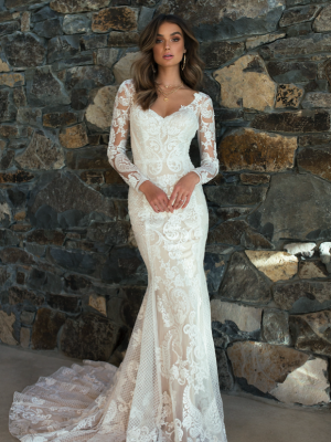ML6718 RENATA LONG SLEEVE ART DECO LACE FITTED WEDDING DRESS MADI LANE BRIDAL GOWN