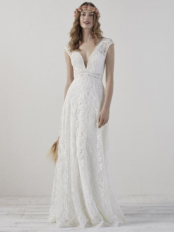 EDERNE-B PRONOVIAS 2019 BOHO BOHEMIAN DEEP V NECK OPEN BACK LACE WEDDING DRESS LUV BRIDAL AUSTRALIA