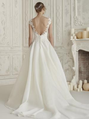 ELIODORA-C HALF LACE PLAIN SKIRT ILLUSION BODICE BALLGOWN WEDDING DRESS LUV BRIDAL AUSTRALIA