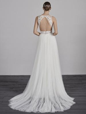 ESPIGA-B PRONOVIAS 2019 SHEER LACE BODICE TULLE SKIRT BOHEMIAN WEDDING DRESS LUV BRIDAL AUSTRALIA