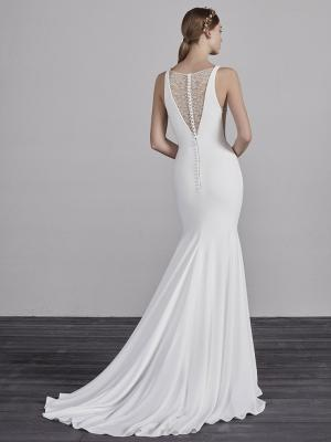 ESTILO-C PRONOVIAS 2019 FITTED SIMPLE SLEEK ELEGANT V NECK WEDDING DRESS LUV BRIDAL AUSTRALIA