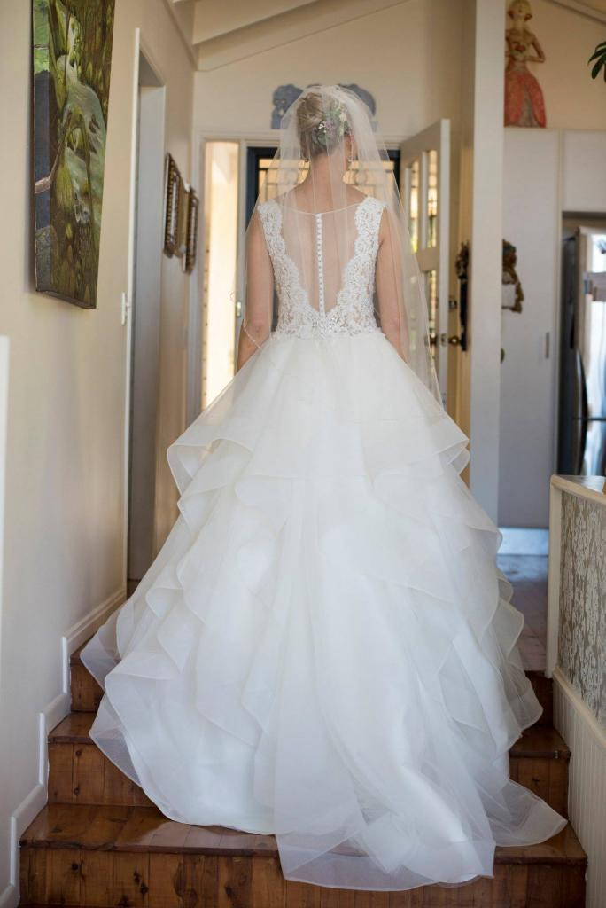 REAL BRIDE BEC M1747 DIOR MIA SOLANO PRINCESS WEDDING DRESS RUFFLE TULLE LACE LUV BRIDAL GOWN