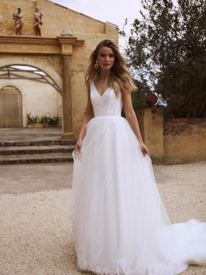 EAMON ML2618 V NECK LOW BACK FULL SKIRT A LINE TULLE AND LACE WEDDING DRESS MADI LANE LUV BRIDAL GOWN