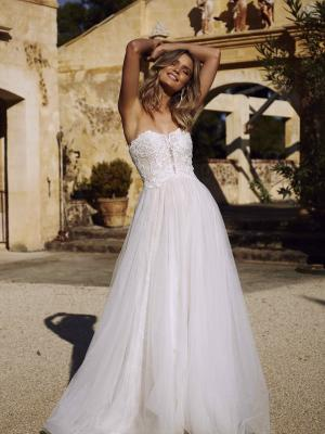 EBONY ML9218 LACE AND TULLE SLIM LINE BALL GOWN WITH DETACHABLE STRAPS MADI LANE LUV BRIDAL WEDDING DRESS