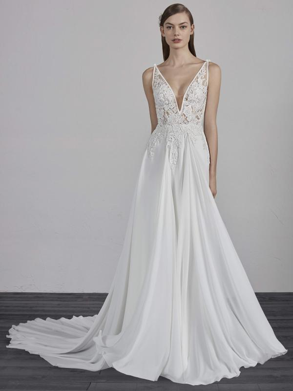 ESCALA PRONOVIAS 2019 OFF WHITE WEDDING DRESS LUV BRIDAL AUSTRALIA