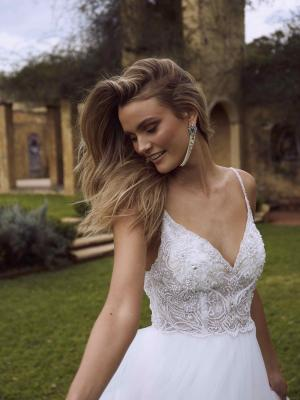 ESHA ML8318 BEADED EMBELLISHED SHEER BODICE TULLE SKIRT BALL GOWN LOW BACK WEDDING DRESS MADI LANE LUV BRIDAL