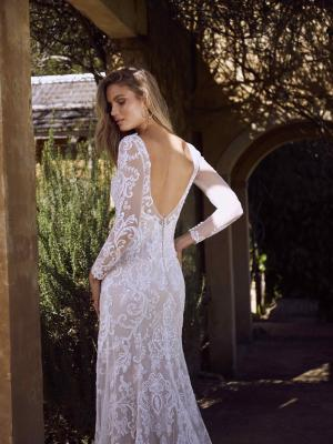 ESTELLE ML7118 LONG SLEEVE SHEER LACE LOW BACK V NECK PLUNGE WEDDING DRESS MADI LANE LUV BRIDAL
