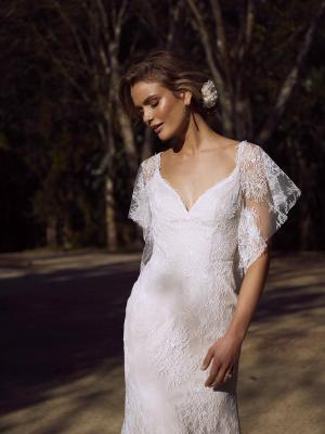 EULA ML2318 FULL DELICATE LACE FITTED GOWN WITH DETACHABLE BUTTERFLY SLEEVES OFF SHOULDER FLUTTER LOW BACK WEDDING DRESS MADI LANE LUV BRIDAL