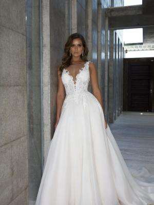 M1815 PATIENCE MIA SOLANO SHEER BEADED BODICE ORGANZA FULL SKIRT ILLUSION NECKLINE WEDDING DRESS LUV BRIDAL