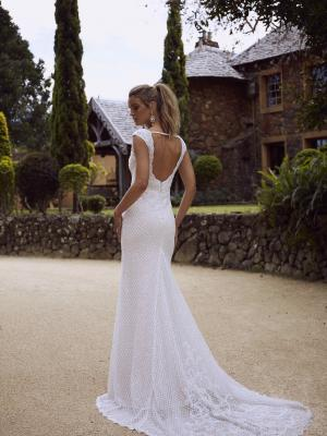 RYLAN ML4218 FULLY BEADED EMBELLISHED V NECK OPEN BACK SHEATH COLUMN WEDDING DRESS MADI LANE LUXE LUV BRIDAL