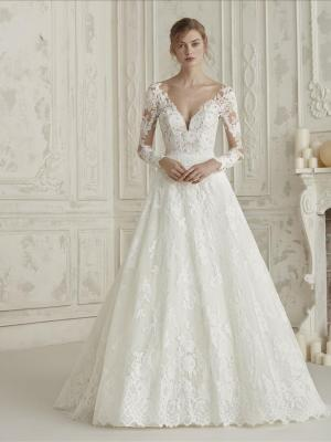 ELEMA PRONOVIAS LONG SLEEVE LACE ILLUSION BACK V NECK A LINE BALL GOWN WEDDING DRESS LUV BRIDAL AUSTRALIA