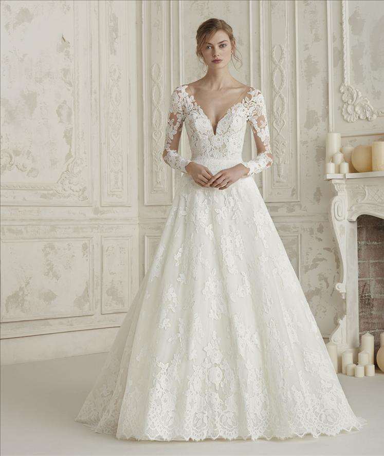 6eb1454575 ELEMA PRONOVIAS LONG SLEEVE LACE ILLUSION BACK V NECK A LINE BALL GOWN  WEDDING DRESS LUV