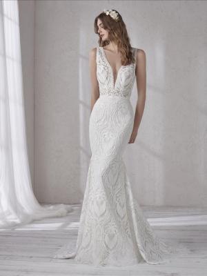 MAGNOLIA PRONOVIAS FULL LACE PLUNGE V NECKLINE LOW BACK FITTED WEDDING DRESS LUV BRIDAL AUSTRALIA