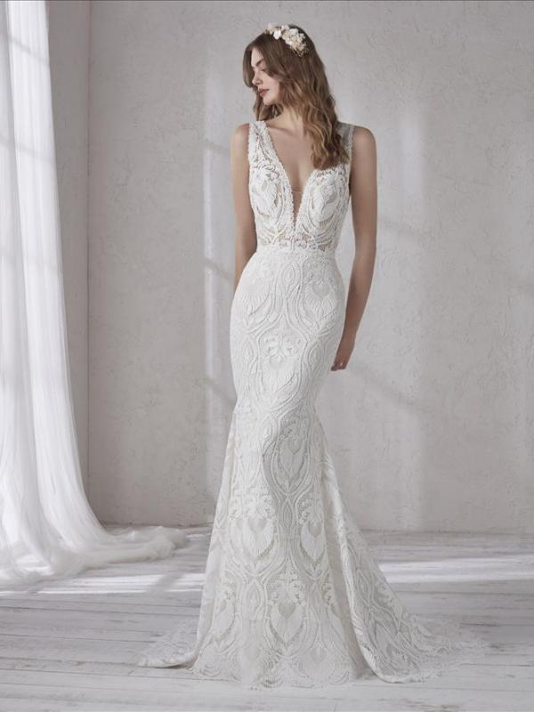 MAGNOLIA PRONOVIAS FULL LACE PLUNGE V NECKLINE LOW BACK FITTED WEDDING DRESS LUV BRIDAL AUSTRALIA