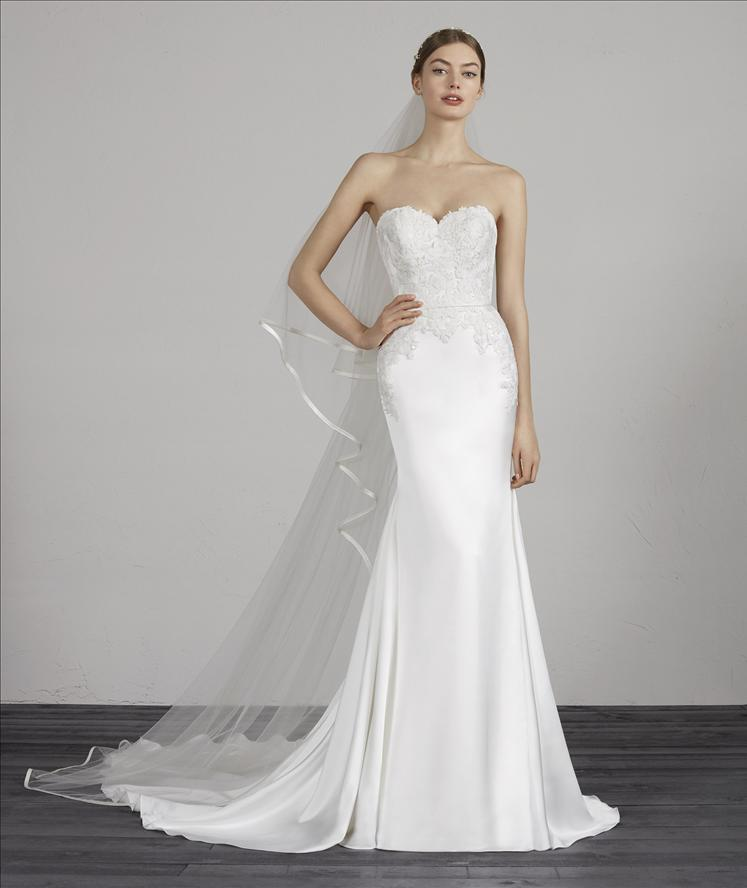 d315fe3bea7 MAREY PRONOVIAS STRAPLESS SWEETHEART SILK SATIN LACE WEDDING DRESS LUV  BRIDAL AUSTRALIA