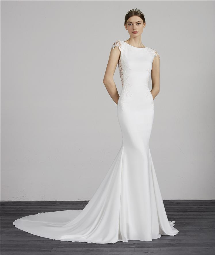 e441c870d3c5 MELVA PRONOVIAS CAP SLEEVE KEYHOLE OPEN BACK LACE CREPE FITTED WEDDING DRESS  LUV BRIDAL AUSTRALIA