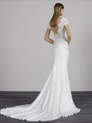 MILADY PRONOVIAS LOW BACK CREPE LACE WEDDING DRESS LUV BRIDAL AUSTRALIA